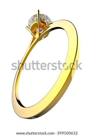 diamond gold ring 4 3d illustration - stock photo