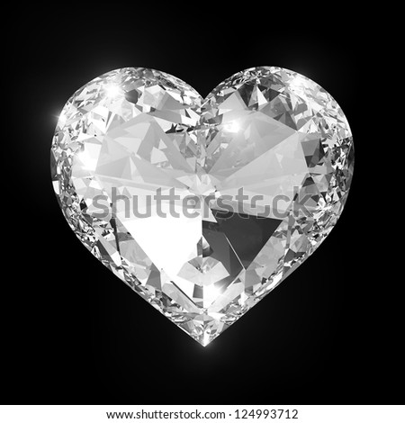 Diamond heart isolated with clipping path - stock photo