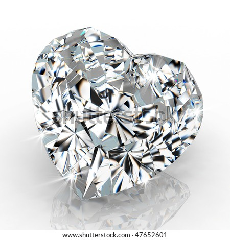 diamond heart shape isolated on white background - 3d render - stock photo