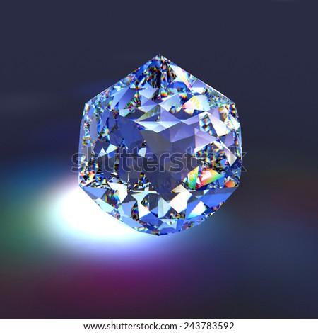 Diamond in dark background, three dimensional illustration - stock photo