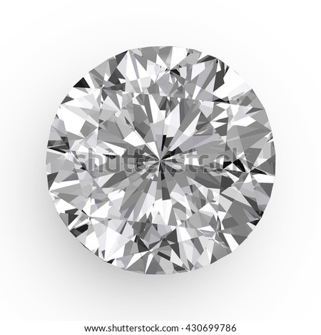 Diamond in top view close up isolated on white background, 3d illustration. - stock photo