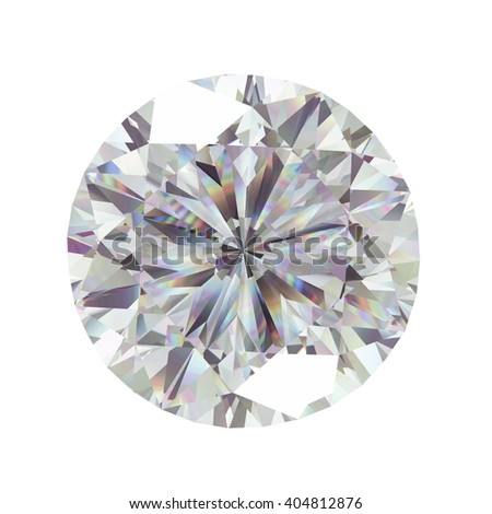 Diamond in top view with caustic isolated on white background, 3d illustration. - stock photo