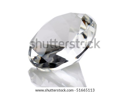 diamond isolated on white - stock photo