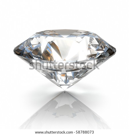 diamond isolated on white background - 3d render - stock photo