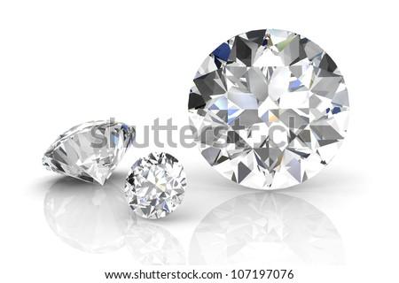 diamond jewel on white background. High quality 3d render - stock photo