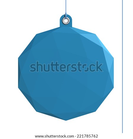 Diamond label, blue shape fixed by a rivet and hung on by a blue thread, isolated on white background - stock photo