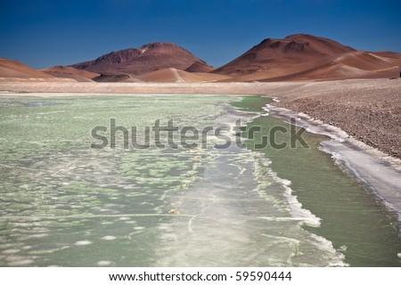 Diamond lagoon in Atacama desert, Chile - stock photo