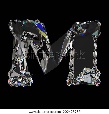 Diamond Letter M Font Isolated On Black Background