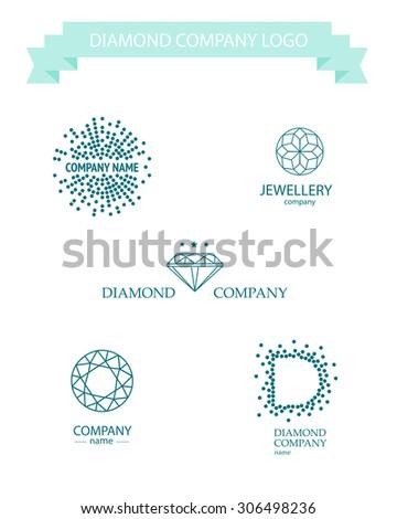 Diamond logo set. Jewellery logo collection. Rhinestone company insignia. Blue stroke rhinestone icon. - stock photo