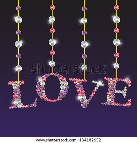 Diamond Love Letters on dark background