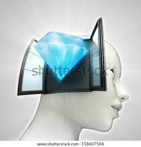 diamond luxury coming out or in human head through window concept illustration - stock photo