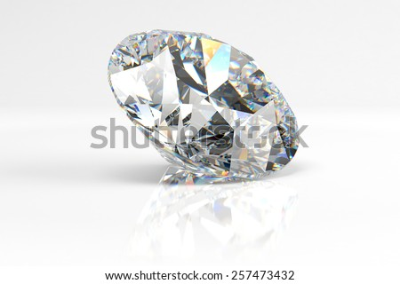 Diamond lying on the ground on a white background with reflection  - stock photo