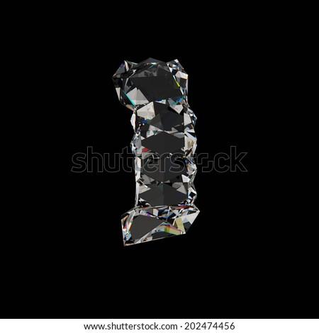 Diamond number 1. Diamond font isolated on black background. - stock photo