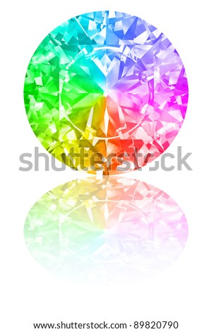 Diamond of rainbow colours on glossy white background. High resolution 3D render with reflections - stock photo