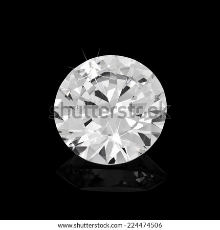Diamond on black background - stock photo