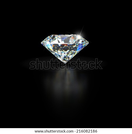Diamond on black background with reflection and empty space for custom text.