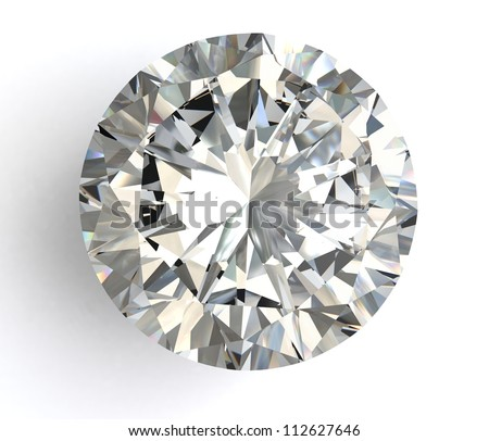 diamond  on white background with high quality --- see my portfolio for high quality diamonds - stock photo