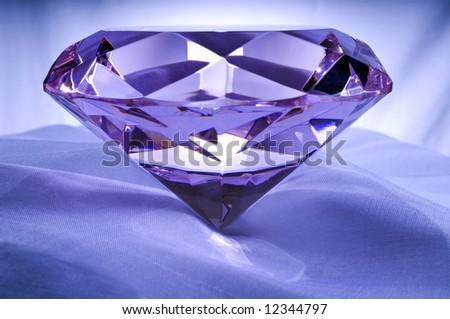 Diamond or Amethyst on Satin. - stock photo