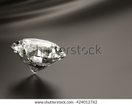 Diamond placed on Dark brown background with space.  3d illustration.