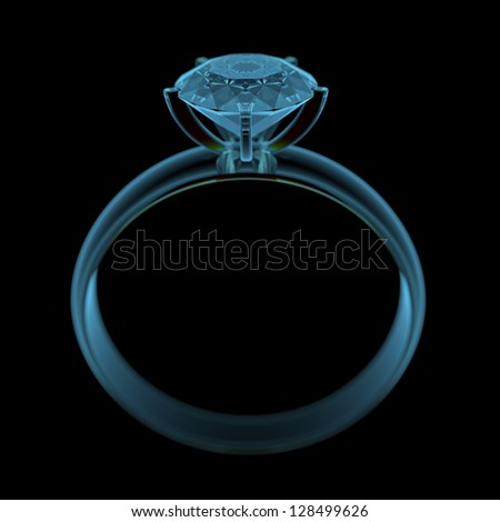 Diamond ring (3D x-ray blue transparent isolated on black)