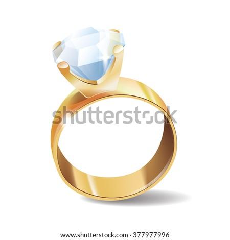 Diamond ring icon, isolated on white background - stock photo