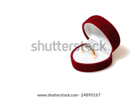 Diamond ring in red box isolated on white