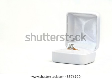 Diamond Ring in White Box Isolated on White - stock photo