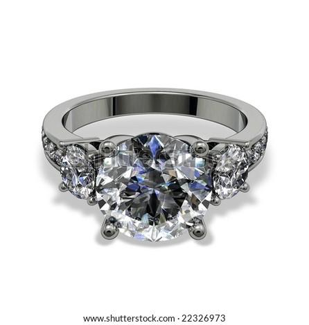 Diamond ring isolated on white - stock photo