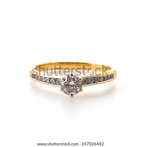 Diamond ring isolated on white background - stock photo