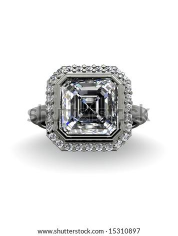 Diamond ring on white - stock photo