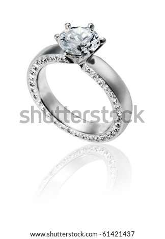 Diamond Ring wedding gift isolated - stock photo