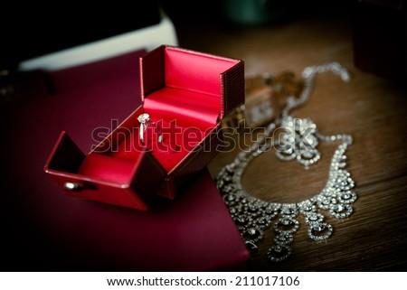 Diamond Rings and Diamond Necklace - stock photo