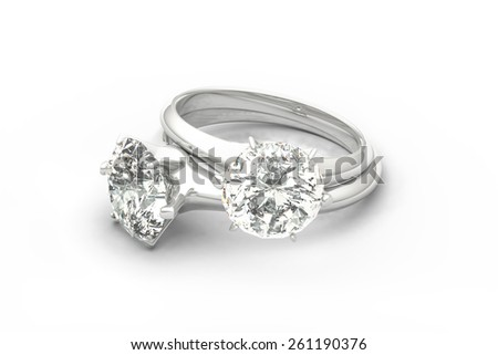 Diamond Rings, Couple Rings, isolated on White