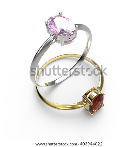 Diamond Rings. Isolated on white background.  Fashion jewelry. 3d digitally rendered illustration