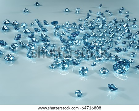 Diamond scattering isolated on light blue background. Beautiful sparkling diamond on a light reflective surface. High quality 3d render with HDRI lighting and ray traced textures. - stock photo