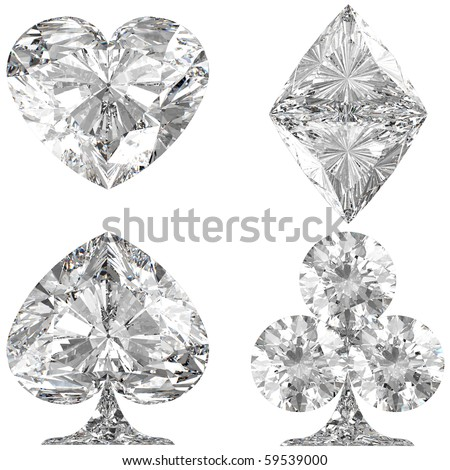 Diamond shaped Card Suits over white background. Other gems are in my portfolio. - stock photo
