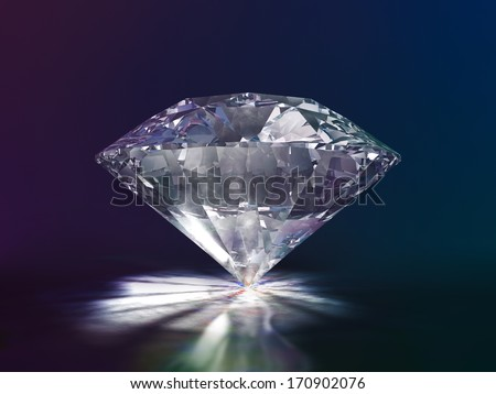 Diamond Side View 3D Illustration on Color Background (with clipping path) - stock photo