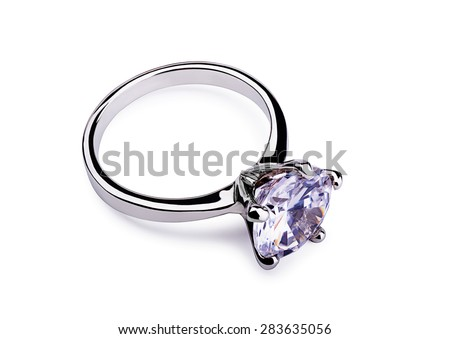 Diamond silver ring isolated on a white background  - stock photo
