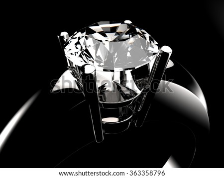 Diamond solitaire ring closeup in dark environment - stock photo
