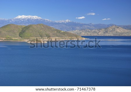 Diamond Valley Lake is one of the largest reservoirs in Southern California. - stock photo