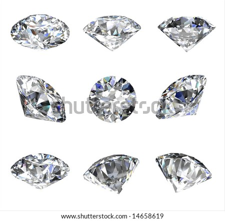 Diamond views isolated on a white background