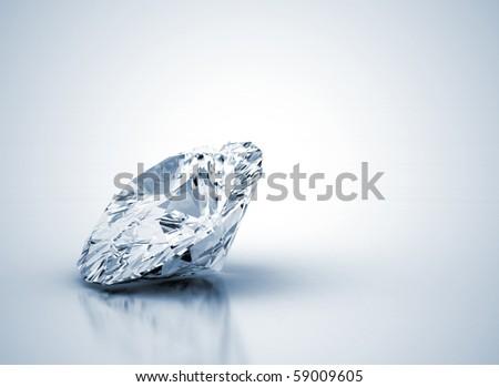 Diamond with blue shade - stock photo