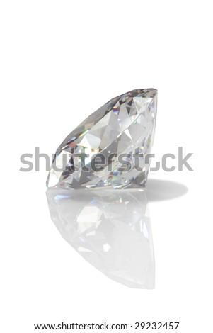 diamond with reflexion - stock photo