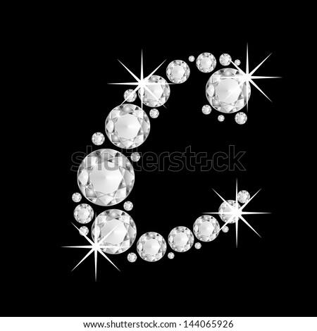 Diamonds alphabet capital letter C - stock photo