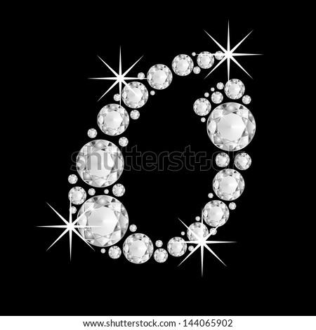Diamonds alphabet capital letter O - stock photo