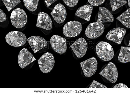diamonds 3d on black surface - stock photo