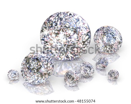 diamonds isolated on white background - stock photo