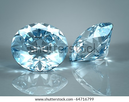 Diamonds jewel isolated on light blue background. Beautiful sparkling diamonds on a light reflective surface. High quality 3d render with HDRI lighting and ray traced textures. - stock photo