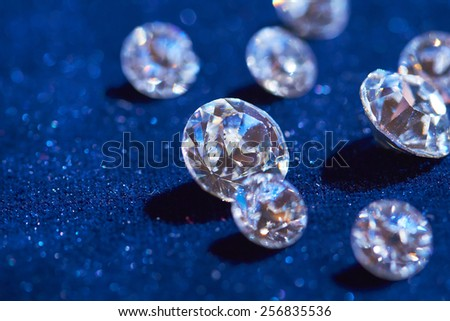 diamonds on blue background - stock photo