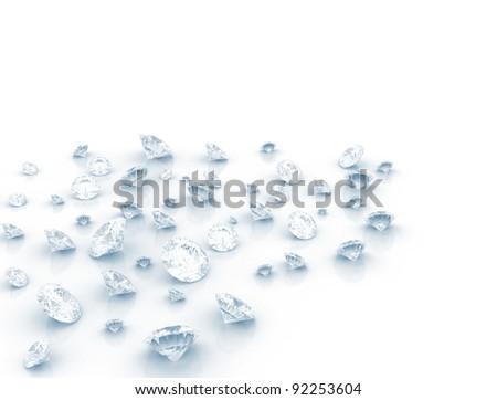 Diamonds on white background - stock photo